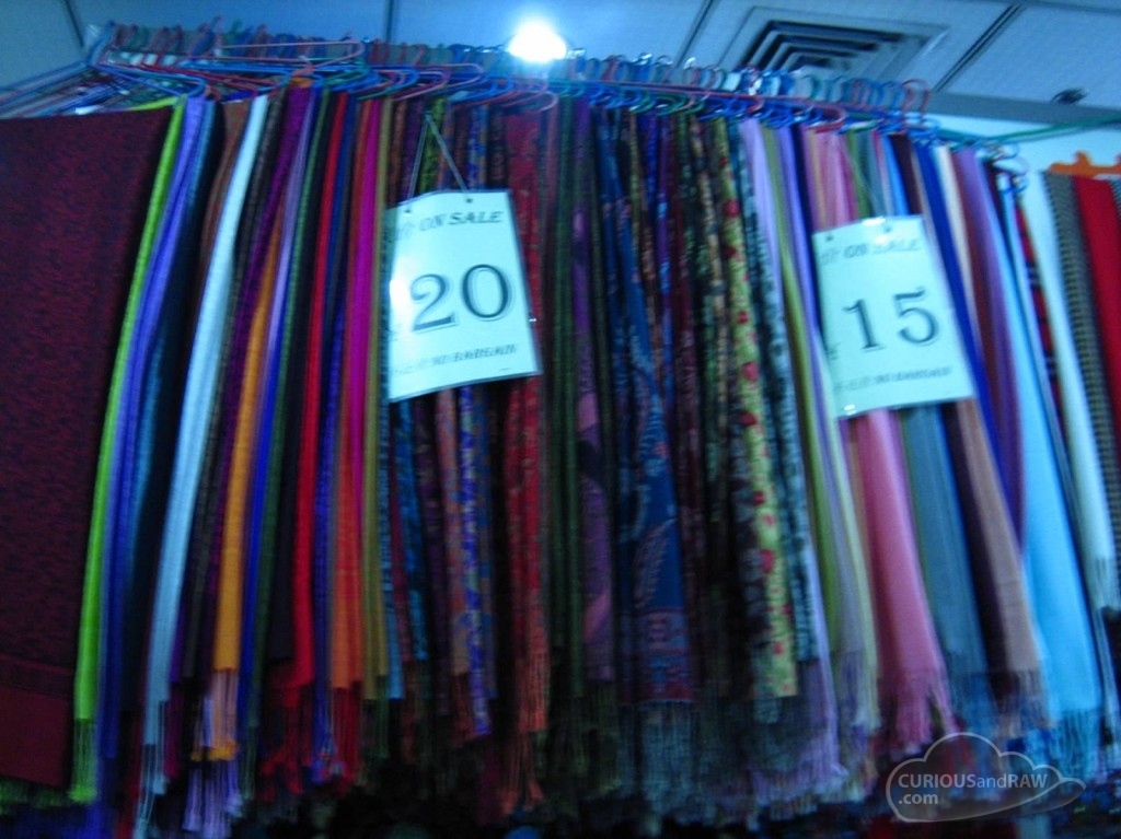 The 'pashminas' in the fabric market in Shanghai.