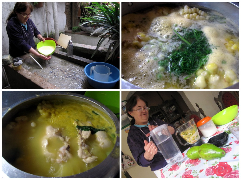 Ellsa rinses the starch, which is the secret ingredient for the soup base and also what makes the soup a creamy yellow. She then makes fresh lulo juice.