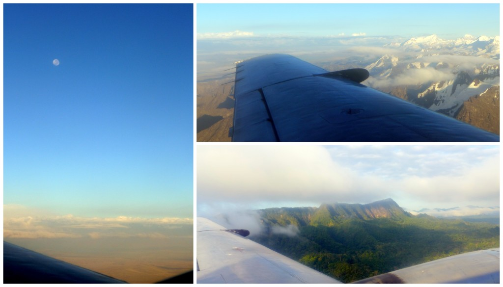 Flying over the Cordillera Real mountain range and entering the Amazon rainforest.