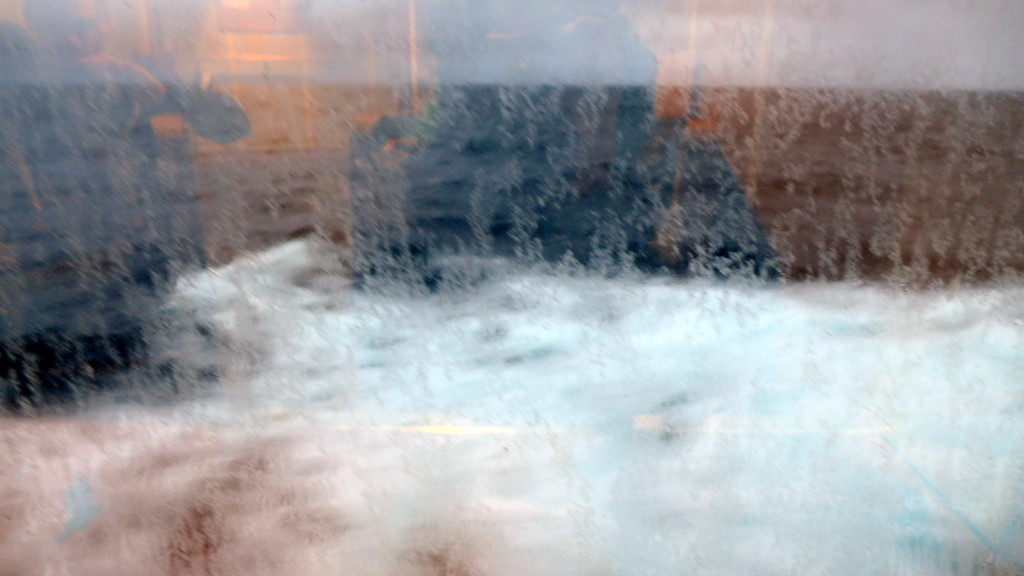 """The waves bouncing off the ship during the Drake Passage. Remember, this is considered """"calm""""!"""